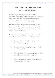 Religious/ Cultural Festivals Active Listening Game Worksheet