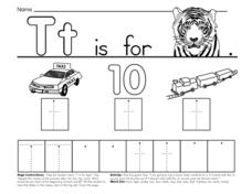 Tt is for Tiger, Taxi, Ten, Train Worksheet