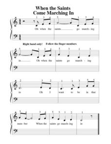 Sheet Music and Fingering: When the Saints Come Marching In Worksheet