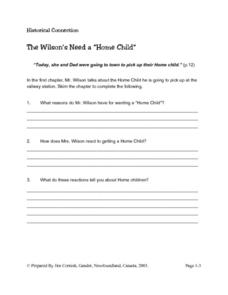The Wilson's Need a 'Home Child' Lesson Plan