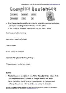 Complex Sentences-- Using Conjunctions Worksheet