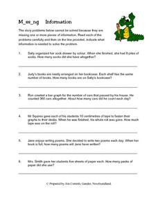 M_ss_ng Information (Missing Information in Word Problems) Lesson Plan
