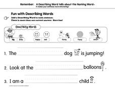 Describing Words, End Marks, Where Words, Connecting Words, Worksheet