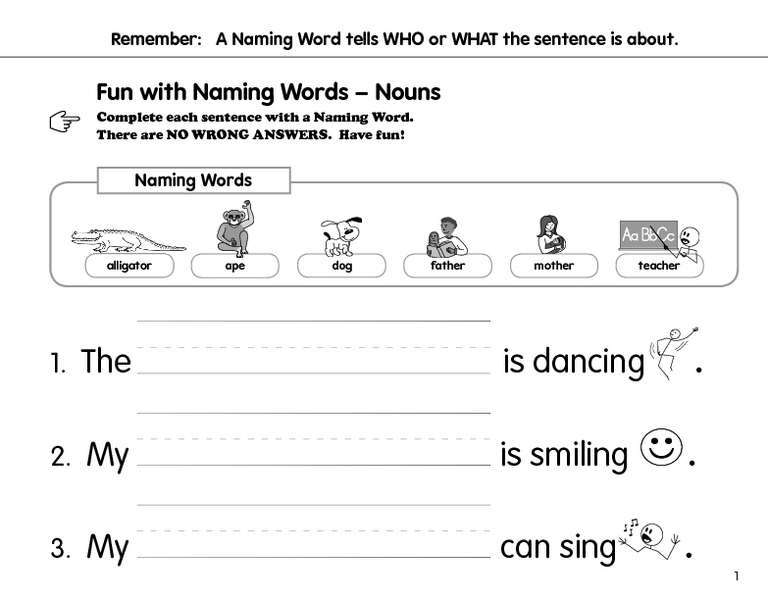 The Naming Words Worksheet for 1st - 2nd Grade | Lesson Planet