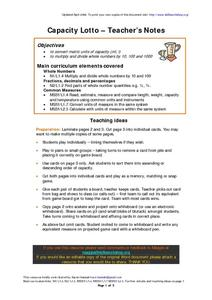 Capacity Lotto Worksheet