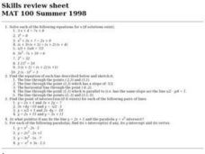 Skills Review Sheet: Equations Worksheet