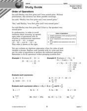 1-3 Study Guide: Order of Operations Worksheet