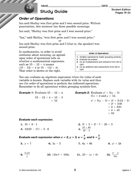 1 3 Study Guide Order Of Operations Worksheet For 6th