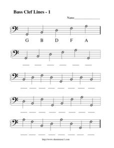Bass Clef Lines--1 Worksheet