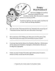 Snappy Word Problems II Lesson Plan