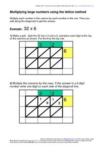 Multiplying Using The Lattice Method Worksheet