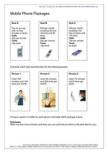 Mobile Phone Packages Worksheet