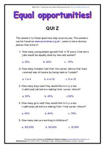 Equal Opportunities Quiz Worksheet