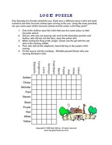 Logic Puzzle--  Going to the Zoo Worksheet