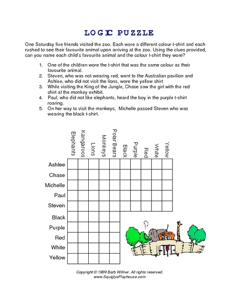logic puzzle going to the zoo worksheet for 4th 5th grade lesson planet. Black Bedroom Furniture Sets. Home Design Ideas