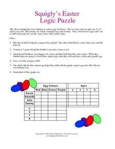 Squigly's Easter Logic Puzzle Worksheet