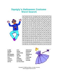 Squigly's Halloween Costume Word Search Worksheet