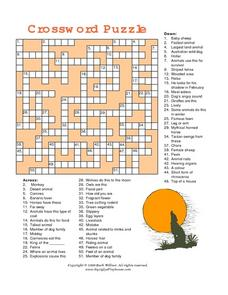 Outside Animals Crossword Puzzle Worksheet