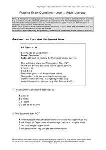 Practice Exam Questions Adult Literacy Worksheet