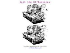 Spot the Differences- The Family Station Wagon Packed Up Worksheet