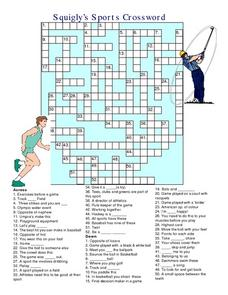 Squigly's Sports Crossword Worksheet