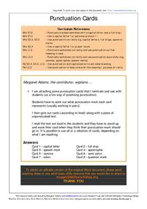 Punctuation Cards Worksheet