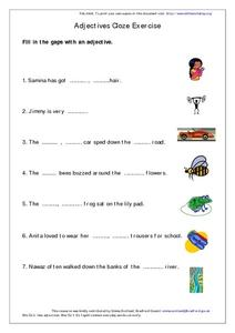 Adjectives Cloze Exercise Worksheet