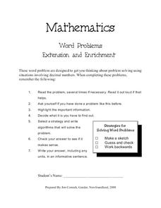 Mathematics Word Problems Worksheet