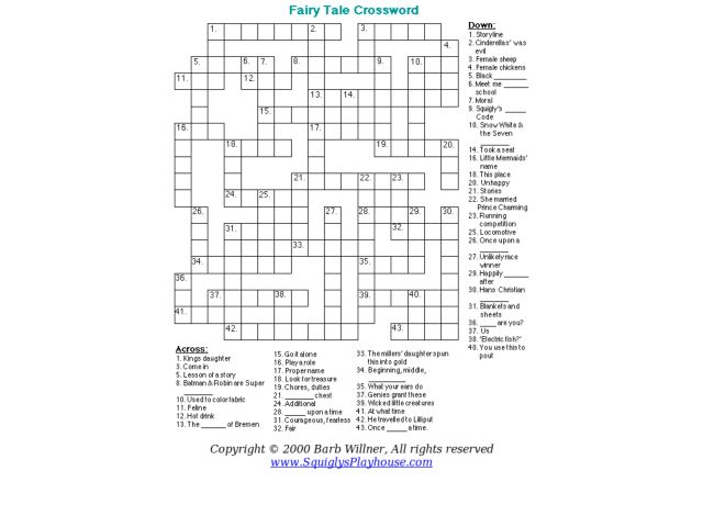 fairy tale crossword worksheet for 5th 6th grade lesson planet. Black Bedroom Furniture Sets. Home Design Ideas