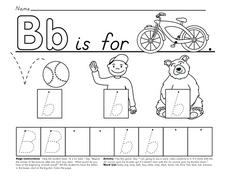 Bb is for Bike, Ball, Boy, Bear  (DeNelian Style) Worksheet