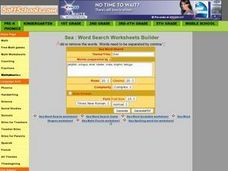 Sea Word Search Worksheet