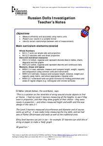 Russian Dolls Investigation Lesson Plan