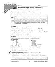 Measures of Central Tendency: Pages 178-183 Lesson Plan