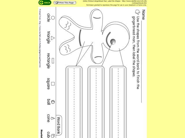 gingerbread man label the shapes worksheet for 1st grade lesson planet. Black Bedroom Furniture Sets. Home Design Ideas