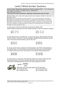 Level 2 Whole Number Questions Worksheet