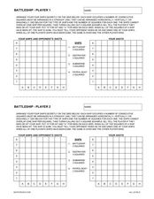 Battleship Game Worksheet