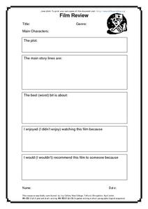 Film, Book And TV Reviews Worksheet