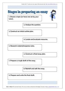 Stages in Preparing an Essay Worksheet