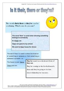 Is it Their, There or They're? Worksheet