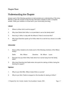 Mrs. Wilson's Secret Reading Comprehension Questions Chapter Three Lesson Plan