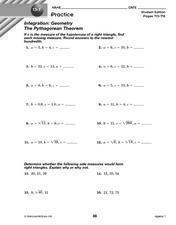 Integration: Geometry - The Pythagorean Theorem Lesson Plan