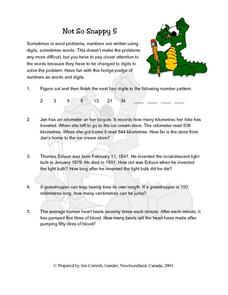 Not So Snappy 5 Word Problems Lesson Plan