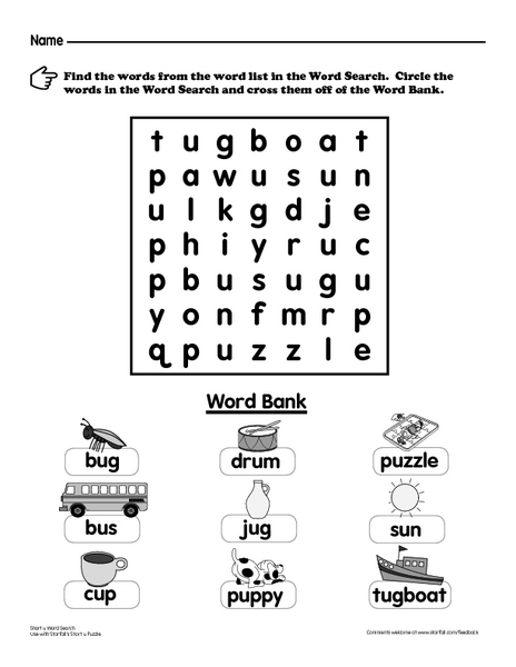 Short U Words Word Search Worksheet