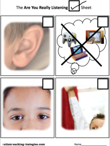 Listening Picture Check Sheet & Listening Picture Prompts Printables & Template