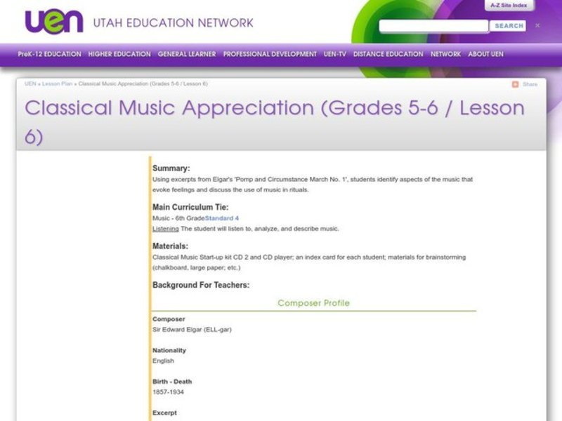 Classical Music Appreciation Lesson Plan for 5th - 6th Grade
