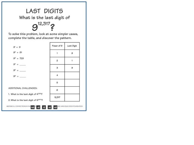 Last Digits Worksheet