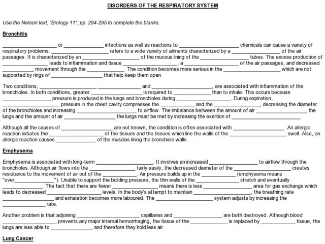 Disorders Of The Respiratory System Worksheet For 9th
