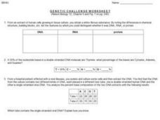 Genetic Challenge Worksheet Worksheet