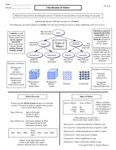 Classification of Matter Worksheet for 7th - 12th Grade ...