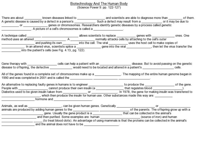 Biotechnology and the Human Body Worksheet for 8th - 12th ...